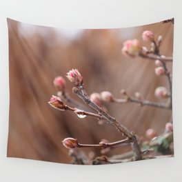 New Life -  Fresh Spring Buds after rain, Rose and earth tones, Nature Photography Macro Wall Tapestry
