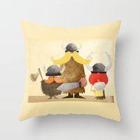 vikings Throw Pillows featuring Vikings by Parin Heidari
