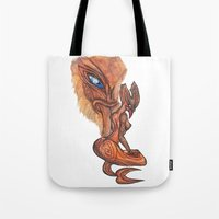tyrion Tote Bags featuring Land Taniwha by Ariel Ni-Wei Huang