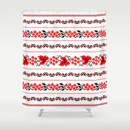 Ethno Ukrainian Pattern - Grape Guelder rose Oak - Symbol Shower Curtain
