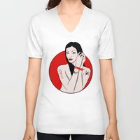 asia V-neck T-shirts featuring girl asia by Egudin