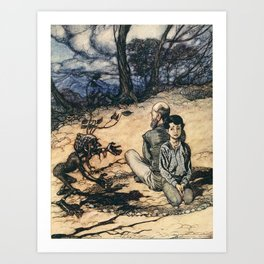 Arthur Rackham - Fairy Tales of the Brothers Grimm (1916) - The King of the Golden Mountain Art Print