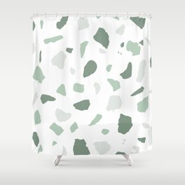 abstract terrazzo stone pattern sage green white Shower Curtain