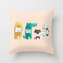 Animal idioms - its a free world Throw Pillow