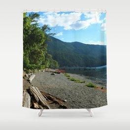 Lake Cresent Shore Shower Curtain