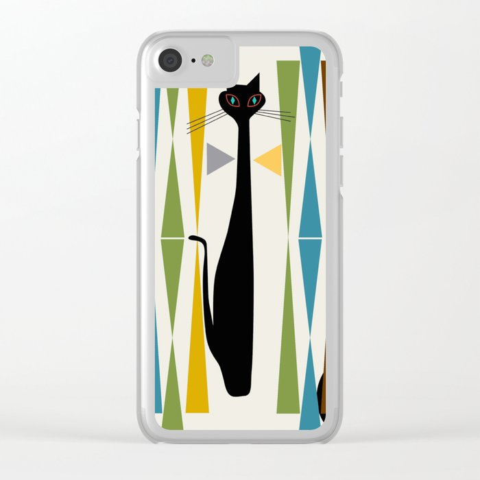 Mid-Century Modern Art Cat 2 Clear iPhone Case