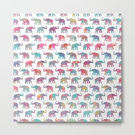 Elephants on Parade in Watercolor Metal Print