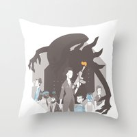 alien Throw Pillows featuring Alien by Florey