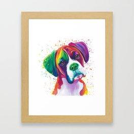 Rainbow Boxer Dog breeed Framed Art Print