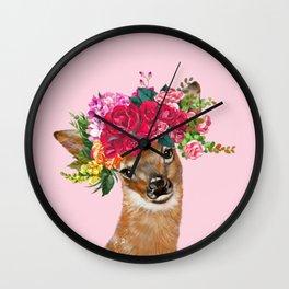 Rose Flower Crown Baby Deer in Pink Wall Clock