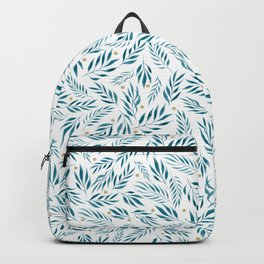 Blue Leaves and Gold Dots Pattern Backpack