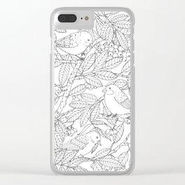 Birds on Rowan Tree Pattern Clear iPhone Case