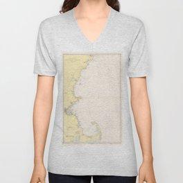 Vintage Map of The New England Coastline (1942) Unisex V-Neck