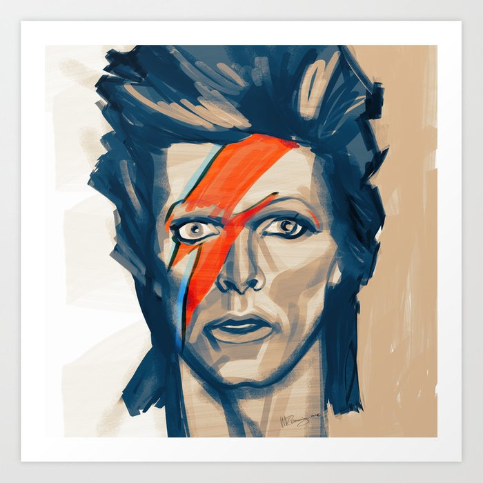 "Portrat of David Bowie as ""Ziggy Stardust"" Art Print"