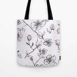 Black and White blooms Tote Bag