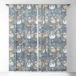Christmas Pugs Sheer Curtain