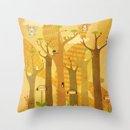Musical Trees Throw Pillow