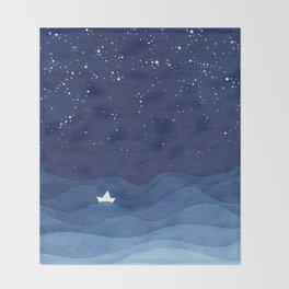 blue ocean waves, sailboat ocean stars Throw Blanket