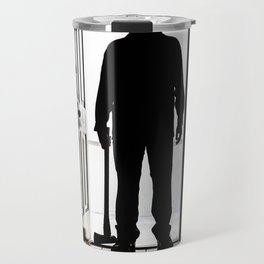Bad Man at door in silhouette with axe Travel Mug