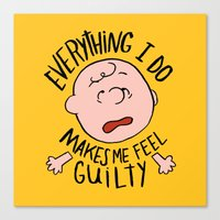 charlie brown Canvas Prints featuring CHARLIE BROWN by Josh LaFayette