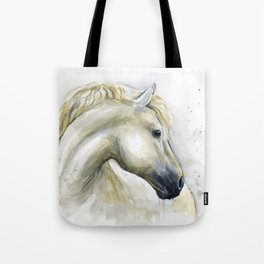 White Horse Watercolor Painting Animal Horses Tote Bag