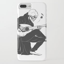 Minstrel playing guitar,grim reaper musician cartoon,gothic skull,medieval skeleton,death poet illus iPhone Case