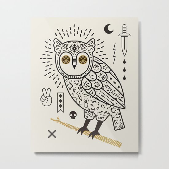 Hypno Owl Metal Print