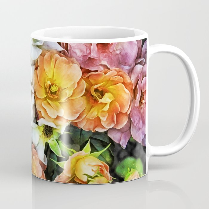 Peachy Roses Art Coffee Mug