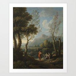 Jan Frans van Bloemen, called Orizzonte Flemish, worked in Italy 1662 - 1749 Idyllic Landscape Art Print