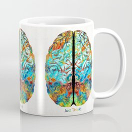 Colorful Brain Art - Just Think - By Sharon Cummings Coffee Mug