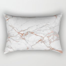 White & Gold Faux Marble Rectangular Pillow