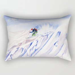 Powder Skiing Rectangular Pillow
