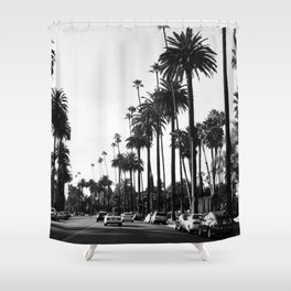 Los Angeles Black and White Shower Curtain