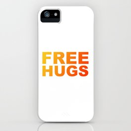 Free Hugs Typography - Minimal - Graphic Design Bright Yellow and Orange Gradient Lettering iPhone Case