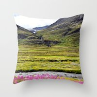 sweden Throw Pillows featuring SWEDEN PINK by Hail Of Whales