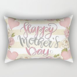 Happy Mothers Day Wreath Rectangular Pillow