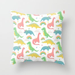 Dinosaurs + Rainbows in Pink Throw Pillow