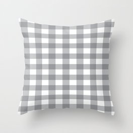 Gray and White Buffalo Plaid Pattern Throw Pillow