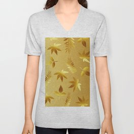 Gold leaves Unisex V-Neck