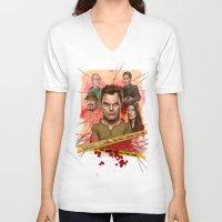 dexter V-neck T-shirts featuring Dexter by Nithin Rao Kumblekar