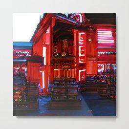 Japanese Temple in Neon Metal Print