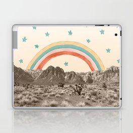 Canyon Desert Rainbow // Sierra Nevada Cactus Mountain Range Whimsical Painted Happy Stars Laptop & iPad Skin