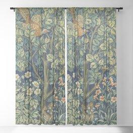 Vintage William Morris pattern pheasant and squirrel Sheer Curtain