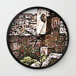Sassi di Matera: stones and flowers Wall Clock