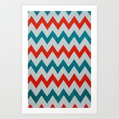 Red and Teal Chevron  Art Print