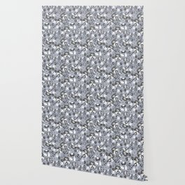 Victorian floral | slate gray Wallpaper