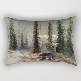 Mountain Black Bear Rectangular Pillow