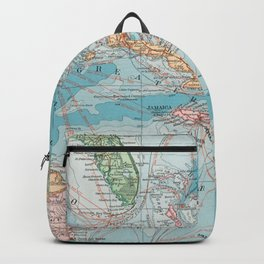 Vintage Map of The Caribbean Sea (1913) Backpack