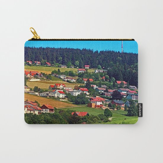 Green grass, the village and a transmitter pole Carry-All Pouch