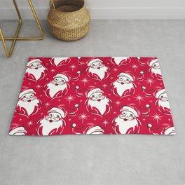 'Tis The Season Retro Santa Red White Pattern Rug